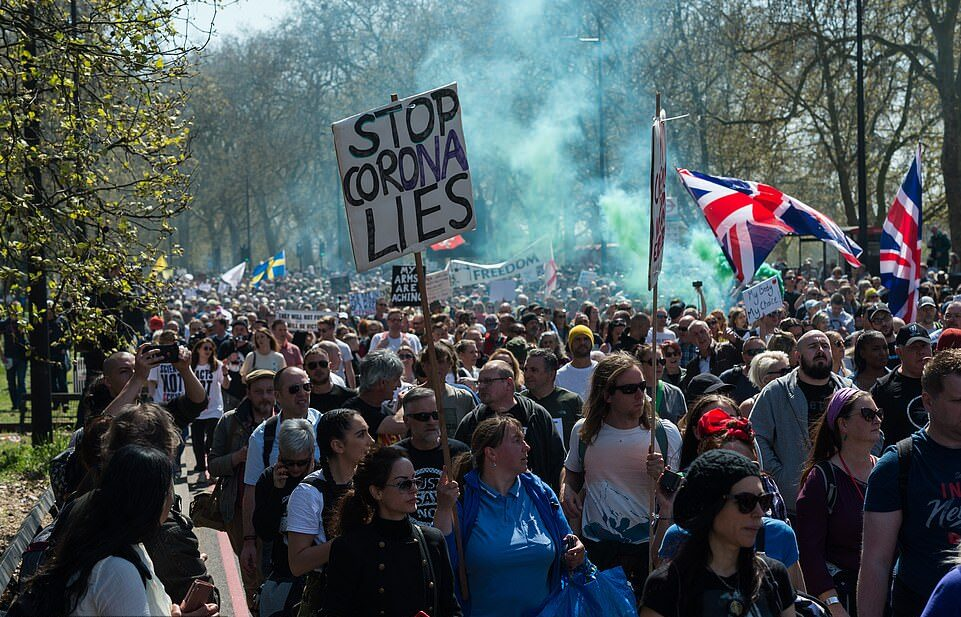Thousands of activists have marched through central London in a 'Unite for Freedom' protest to demand a ban on vaccine passports.